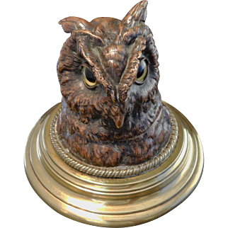 Copper and Brass Owl Inkwell