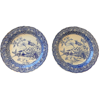 Pair of Doulton Blue and WhiteTransferware Chargers