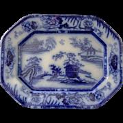 Flow Blue Ironstone Platter in the Hong Kong Pattern