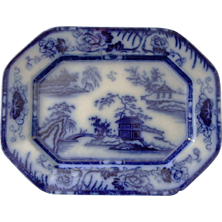 Flow Blue Ironstone Platter in the Hong Kong Pattern