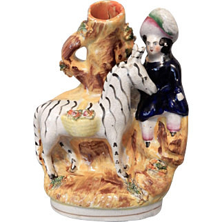 Staffordshire Zebra and Child Spill Vase