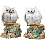A Pair of Porcelain Owl Spill Vases.