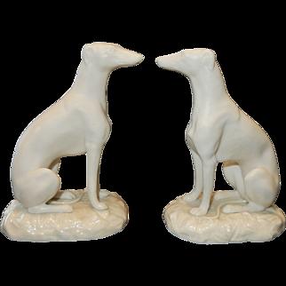 A Rare Pair of Irish Belleek Greyhounds or Whippets