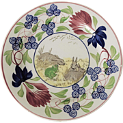 Stick Spatterware Rabbits and Frog Plate
