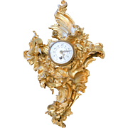 French Gilt Bronze Rococo Cartel Clock