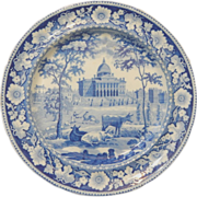 Boston State House Blue and White Transferware Plate