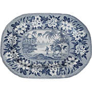 Blue and White Transferware Platter by Riley's