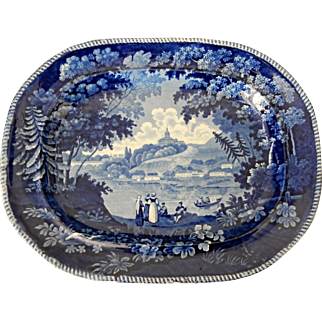 "Large Blue & White Transferware Platter ""Italian Scenery Turin"" by Enoch Wood"