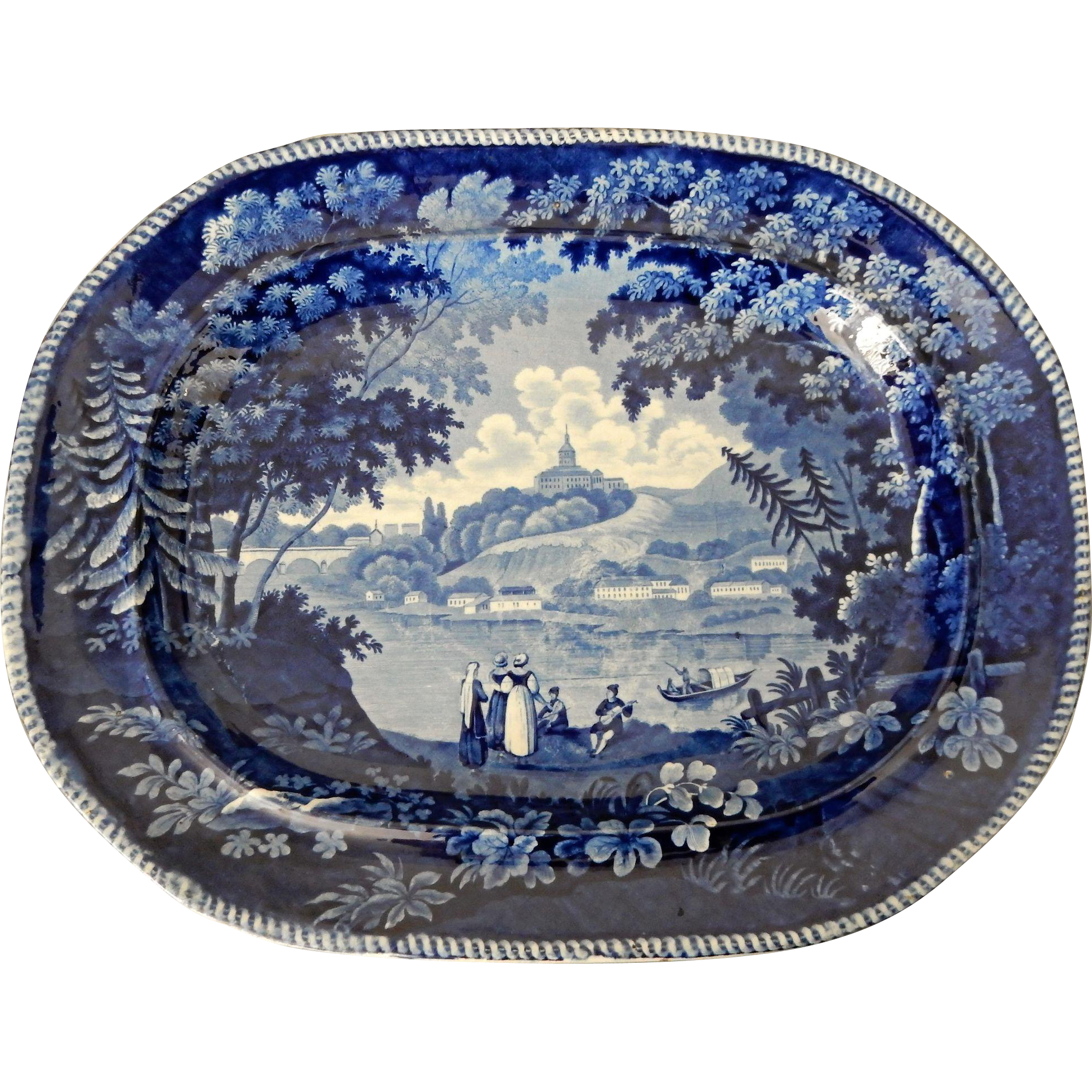 Large Blue \u0026 White Transferware Platter \ Italian Scenery Turin\  by  William Ash Antiques | Ruby Lane  sc 1 st  Ruby Lane & Large Blue \u0026 White Transferware Platter \