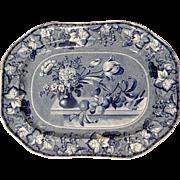 Clews' Blue & White Transferware Coronation Pattern Platter