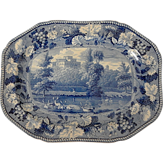 Blue and White Transferware Platter of Kenmount
