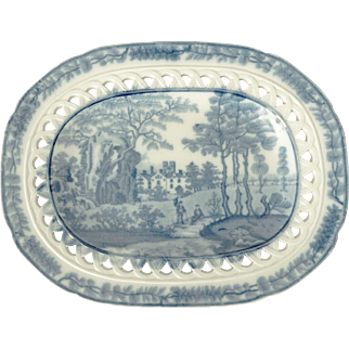 Davenport Pearlware Platter with a Reticulated Border