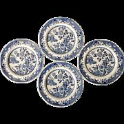 Set of 4 Spode Blue & White Transferware Plates