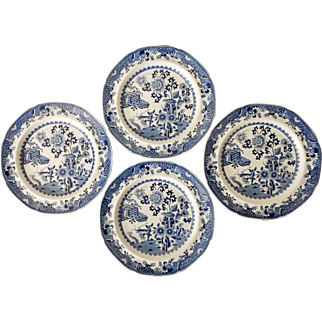 Set of 4 Spode Blue & White Transferware Plates