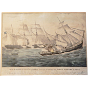 "Currier and Ives Print: THE U.S. SLOOP OF WAR ""KEARSARGE"" 7 GUNS, SINKING THE PIRATE ""ALABAMA"" 8 GUNS"