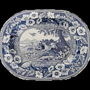 Blue and White Springer Spaniel Pattern Transferware Platter