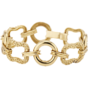 Retro 18K Textured & Polished Link Bracelet 20.8 dwt