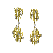 Mid-century Signed 18k Gold & Diamond Satsky Modernist Dangle Earrings