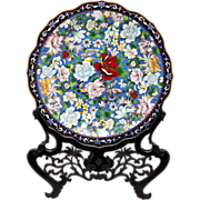 Monumental Chinese Cloisonne Floral Platter Charger in Carved Wood Stand