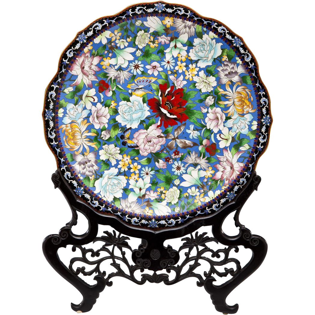 Monumental chinese cloisonne floral platter charger in for Cloison stand