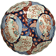 19th Century Japanese OLD IMARI Porcelain Ribbed Punchbowl w/ Scalloped Edge