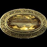 14K Golden Oval Citrine Brooch