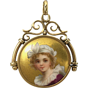 Victorian Painted Portrait Pendant Fob of a Girl Ornate 14K Frame