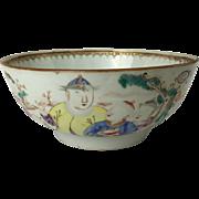 Chinese Export Porcelain Mandarin Bowl with Figures Qianlong (1736-1795)