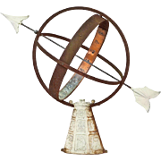 Vintage Garden Armillary Sundial Sphere with Zodiac Base