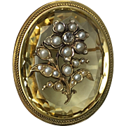 Mid-Victorian Rose-cut Diamond, Seed Pearl and Citrine Brooch