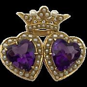 14k Krementz Amethyst Seed Pearl & Amethyst Crowned Heart Brooch