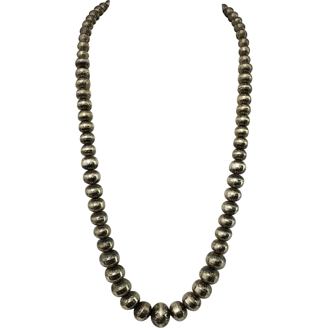Vintage Sterling Silver Graduated Stamped Navajo Pearl Bench Bead Necklace