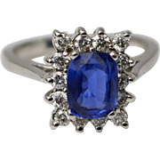 Vintage 14K Natural 1.63 ct Ceylon Sapphire and Diamond Halo Ring