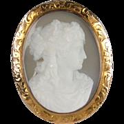 14K Hardstone Cameo Pendant Brooch of the Goddess Flora