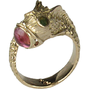 Vintage 14K Pink Tourmaline and Jade Koi Fish Ring