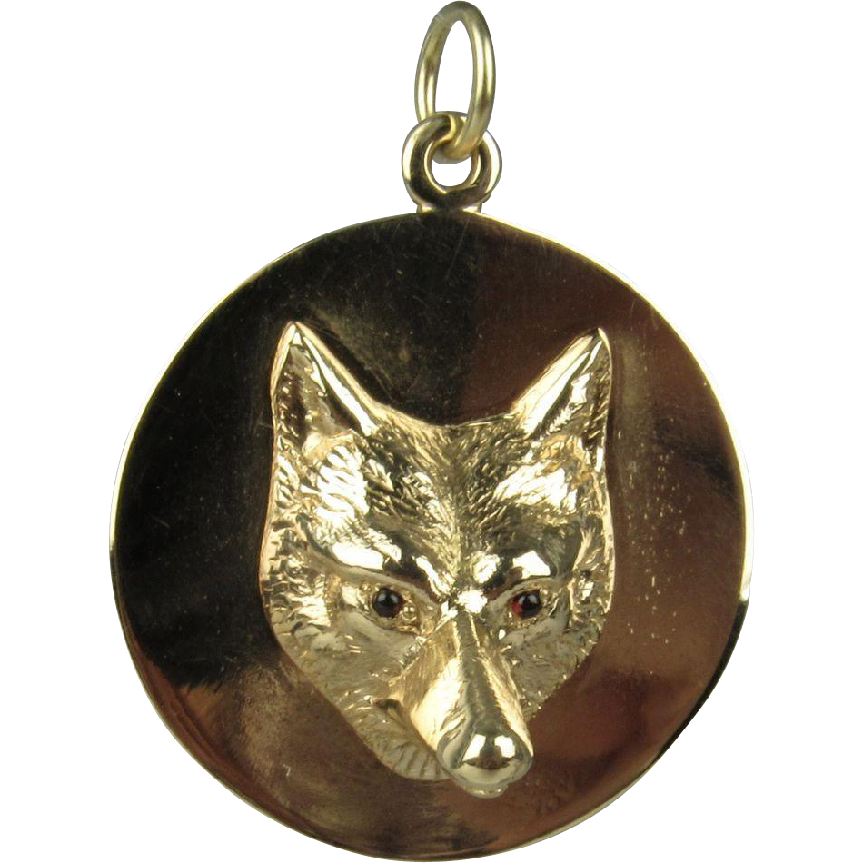 vintage 14k yellow gold fox pendant from