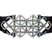 Gorgeous French Silver Dog Collar Necklace or Waist Piece with Moonstones, Sapphires and Opals