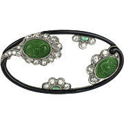 Platinum Jade, Emerald and Diamond Brooch by William Wise & Son, Certified Grade A Jade