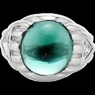 Vintage Platinum, Tourmaline and Trillion-Cut Diamond Signet Ring - 1.50 TCW