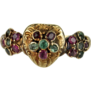 Early Victorian 15K Jeweled Heart and Pansy Ring