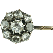 Victorian Rose Cut Diamond Cluster Stick Pin - 18KT Yellow Gold - 1.25 TCW