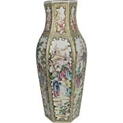 Fine 18th C Hexagonal Chinese Vase in Famille Rose Mandarin Pattern