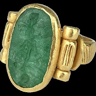 22K Green Beryl Emerald Intaglio Ring of the Goddess Psyche