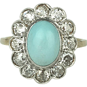 15k Turquoise and Mine Cut Diamond Ring