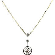 Antique Edwardian Era Diamond Drop Pendant Necklace - .92ct