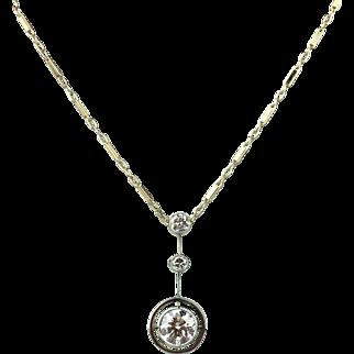 Antique Edwardian Era Diamond Drop Pendant Necklace - .92ct