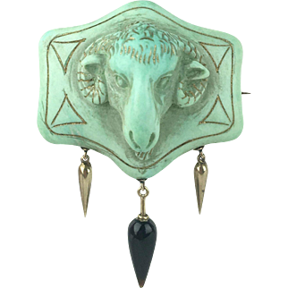 Victorian Ram's Head Cameo Brooch with 14K Amphorae Pendants