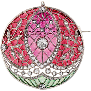 French Belle Epoque Plique-a-jour and Diamond Brooch/Pendant