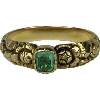 Early 19th C Emerald Ring with Chased Band