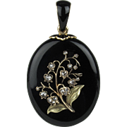Lily of the Valley Black Onyx and Diamond Mourning Locket in 18K